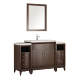"Fresca Cambridge 54"" Antique Coffee Traditional Bathroom Vanity w/ Mirror - BathVault"
