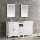 "Fresca Cambridge 60"" White Double Sink Traditional Bathroom Vanity w/ Mirrors - BathVault"
