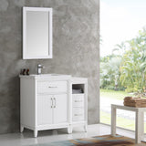 "Fresca Cambridge 36"" White Traditional Bathroom Vanity w/ Mirror - BathVault"