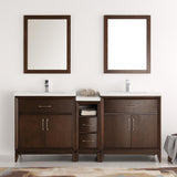 "Fresca Cambridge 72"" Antique Coffee Double Sink Traditional Bathroom Vanity w/ Mirrors - BathVault"