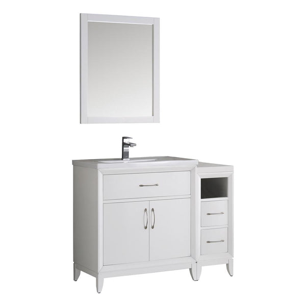"Fresca Cambridge 42"" White Traditional Bathroom Vanity w/ Mirror - BathVault"
