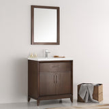 "Fresca Cambridge 30"" Antique Coffee Traditional Bathroom Vanity w/ Mirror - BathVault"
