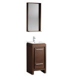 "Fresca Allier 16"" Wenge Brown Modern Bathroom Vanity w/ Mirror - BathVault"
