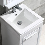 "Fresca Allier 16"" White Modern Bathroom Vanity w/ Mirror - BathVault"