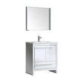 "Fresca Allier 30"" White Modern Bathroom Vanity w/ Mirror - BathVault"