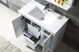 "Fresca Allier 36"" White Modern Bathroom Vanity w/ Mirror - BathVault"