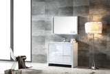 "Fresca Allier 40"" White Modern Bathroom Vanity w/ Mirror - BathVault"