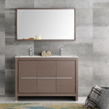 "Fresca Allier 48"" Gray Oak Modern Double Sink Bathroom Vanity w/ Mirror - BathVault"