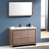 "Fresca Allier 48"" Gray Oak Modern Bathroom Vanity w/ Mirror - BathVault"