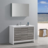 "Fresca Allier Rio 48"" Ash Gray Single Sink Modern Bathroom Vanity w/ Medicine Cabinet - BathVault"