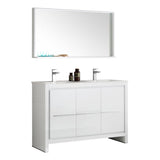 "Fresca Allier 48"" White Modern Double Sink Bathroom Vanity w/ Mirror - BathVault"