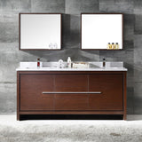 "Fresca Allier 72"" Wenge Brown Modern Double Sink Bathroom Vanity w/ Mirror - BathVault"