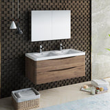 "Fresca Tuscany 48"" Rosewood Wall Hung Double Sink Modern Bathroom Vanity w/ Medicine Cabinet - BathVault"