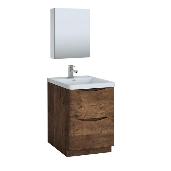 "Fresca Tuscany 24"" Rosewood Free Standing Modern Bathroom Vanity w/ Medicine Cabinet - BathVault"