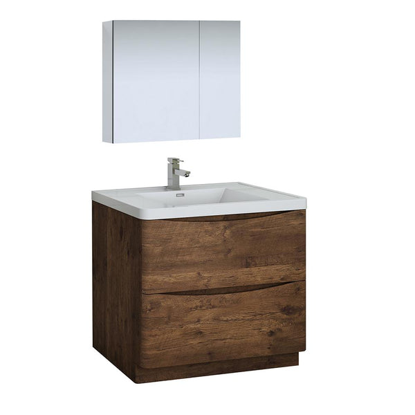 "Fresca Tuscany 36"" Rosewood Free Standing Modern Bathroom Vanity w/ Medicine Cabinet - BathVault"