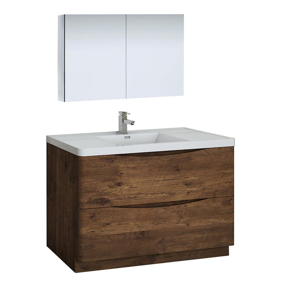 "Fresca Tuscany 48"" Rosewood Free Standing Modern Bathroom Vanity w/ Medicine Cabinet - BathVault"