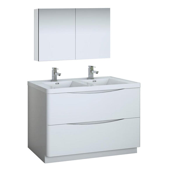 "Fresca Tuscany 48"" Glossy White Free Standing Double Sink Modern Bathroom Vanity w/ Medicine Cabinet - BathVault"
