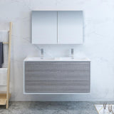"Fresca Catania 48"" Glossy Ash Gray Wall Hung Double Sink Modern Bathroom Vanity w/ Medicine Cabinet - BathVault"