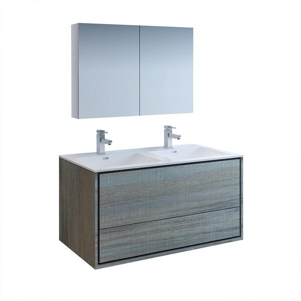 "Fresca Catania 48"" Ocean Gray Wall Hung Double Sink Modern Bathroom Vanity w/ Medicine Cabinet - BathVault"