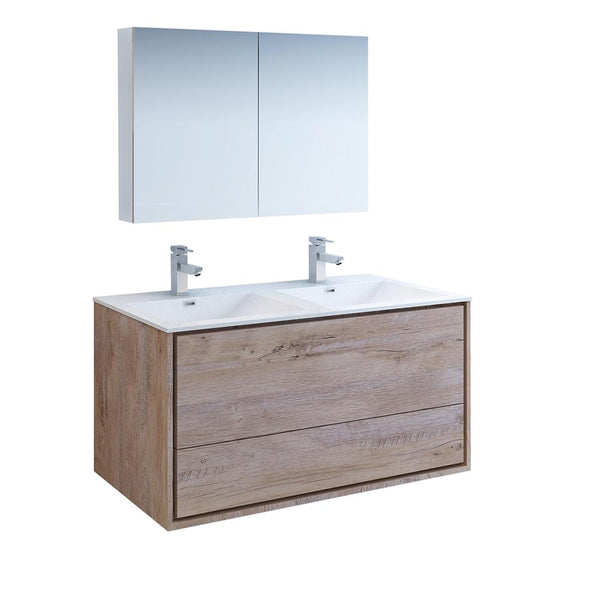 "Fresca Catania 48"" Rustic Natural Wood Wall Hung Double Sink Modern Bathroom Vanity w/ Medicine Cabinet - BathVault"