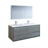 "Fresca Catania 60"" Ocean Gray Wall Hung Double Sink Modern Bathroom Vanity w/ Medicine Cabinet - BathVault"