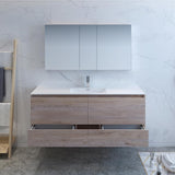 "Fresca Catania 60"" Rustic Natural Wood Wall Hung Single Sink Modern Bathroom Vanity w/ Medicine Cabinet - BathVault"