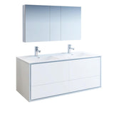 "Fresca Catania 60"" Glossy White Wall Hung Double Sink Modern Bathroom Vanity w/ Medicine Cabinet - BathVault"