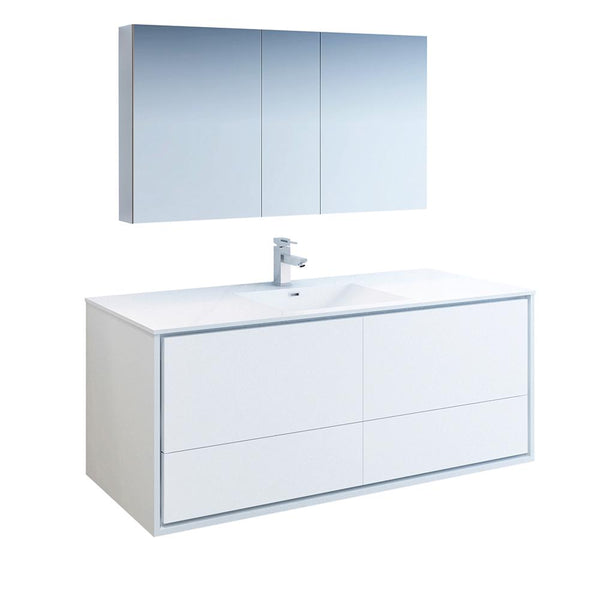 "Fresca Catania 60"" Glossy White Wall Hung Single Sink Modern Bathroom Vanity w/ Medicine Cabinet - BathVault"
