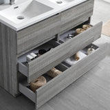 "Fresca Lazzaro 48"" Glossy Ash Gray Free Standing Double Sink Modern Bathroom Vanity w/ Medicine Cabinet - BathVault"