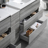 "Fresca Lazzaro 84"" Glossy Ash Gray Free Standing Double Sink Modern Bathroom Vanity w/ Medicine Cabinet - BathVault"