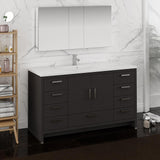 "Fresca Imperia 60"" Dark Gray Oak Free Standing Single Sink Modern Bathroom Vanity w/ Medicine Cabinet - BathVault"