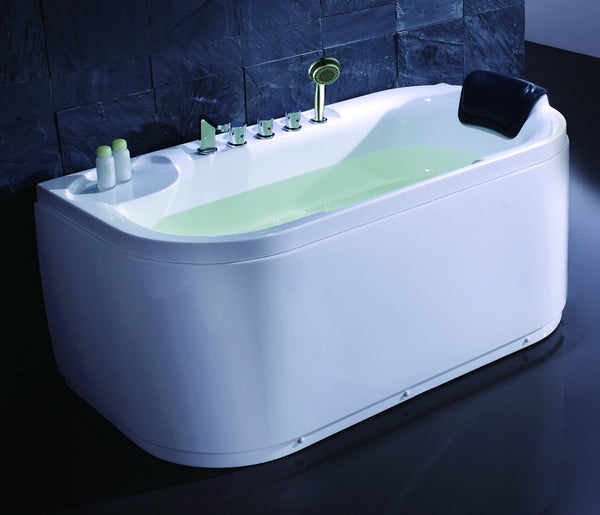 Eago LK1103-L 59 in. Acrylic Flatbottom Bathtub in White - BathVault
