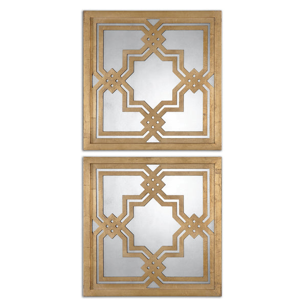 Uttermost Piazzale Gold Square Mirrors S/2 13865 - BathVault