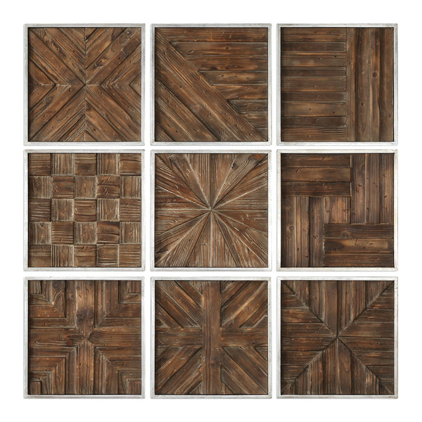 Uttermost Bryndle Rustic Wooden Squares S/9 04115 - BathVault