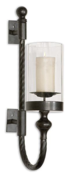 Uttermost Garvin Twist Metal Sconce With Candle 19476 - BathVault