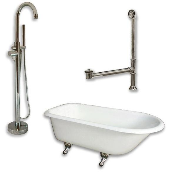 "Cambridge Plumbing Cast-Iron Rolled Rim Clawfoot Tub Package 61"" X 30"" - BathVault"