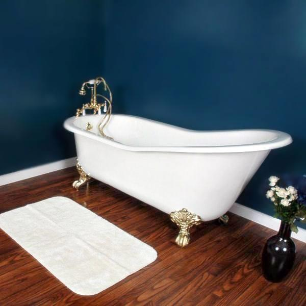 "Cambridge Plumbing Cast Iron Slipper Clawfoot Tub 67"" X 30"" - BathVault"