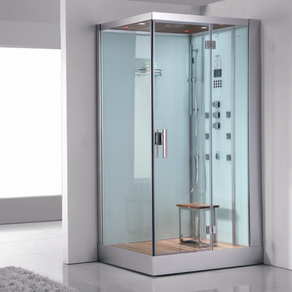 "Ariel Platinum DZ959F8 White Right Steam Shower 47"" x 35.4"" x 89"" - BathVault"