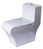 Eago 1-Piece 0.8/1.32 GPF Dual Flush Elongated Toilet in White - BathVault