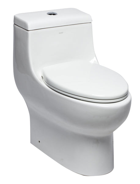 Eago 1-Piece 0.8/1.28 GPF Dual Flush Elongated Toilet in White Whirlpool Massage Jet Bathtub Eago