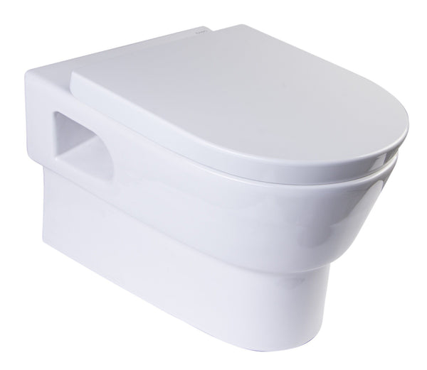 Eago Wall Mount 1-Piece 0.8/1.6 GPF Dual Flush Elongated Toilet Bowl Only in White Whirlpool Massage Jet Bathtub Eago