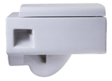 Eago Wall Mount 1-Piece 0.8/1.6 GPF Dual Flush Elongated Square Toilet Bowl Only in White - BathVault