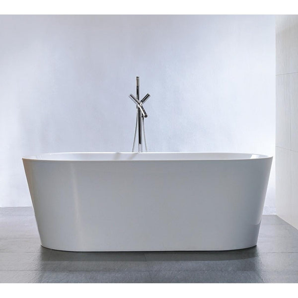"Legion Furniture 67.3"" White Freestanding Tub - Double Ended Style WE6815 - BathVault"