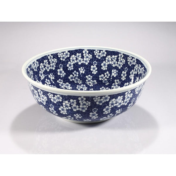 Legion Furniture Porcelain Vessel Sink Bowl - Navy, White Flower ZA-224 - BathVault