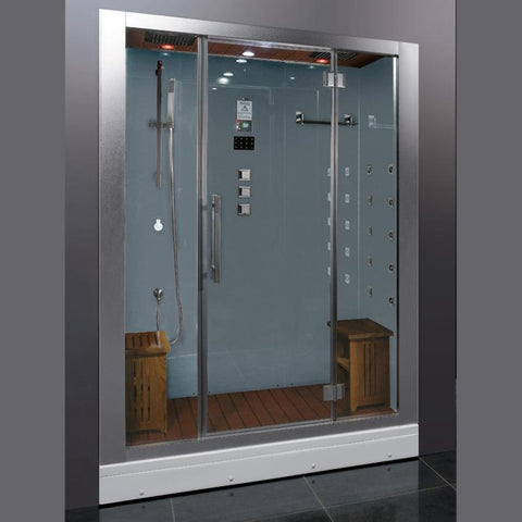 "Ariel Platinum DZ972F8 Steam Shower White 59""W x 32""D x 87""H - BathVault"