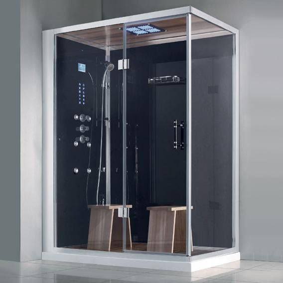 "Athena WS-141 Steam Shower Black 59""x 36"" x 89"" - BathVault"