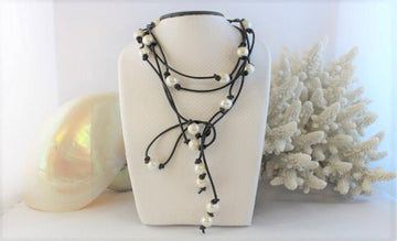Signature 2m pearl and leather lariat