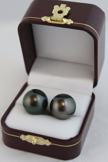 Tahitian 12mm pearl stud earrings set in 9ct gold