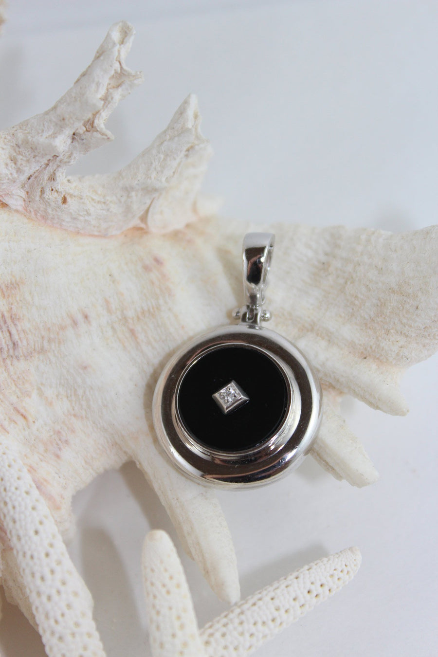 Onyx, diamond and sterling silver enhancer