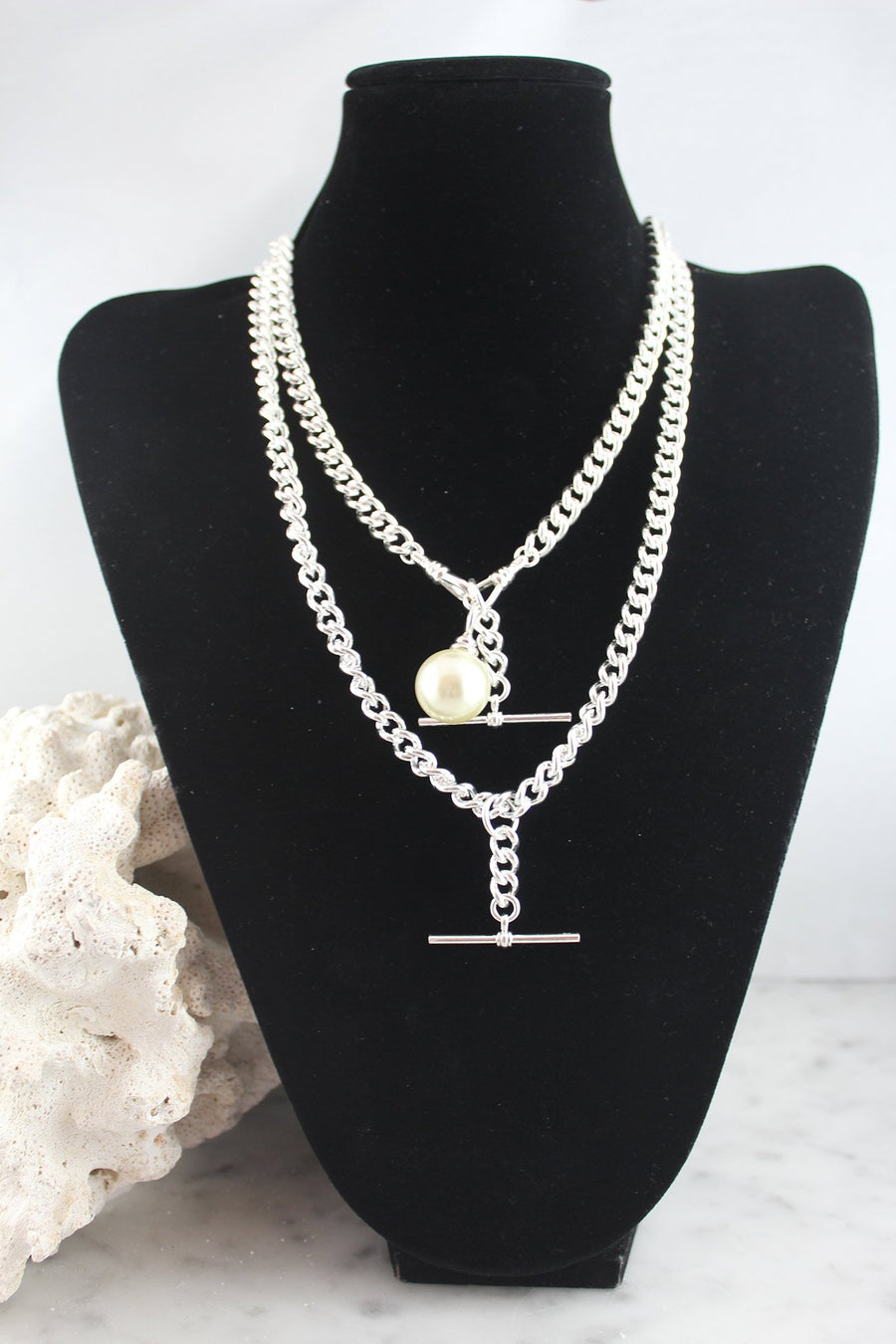 Sterling silver fob chains with pearl adornments